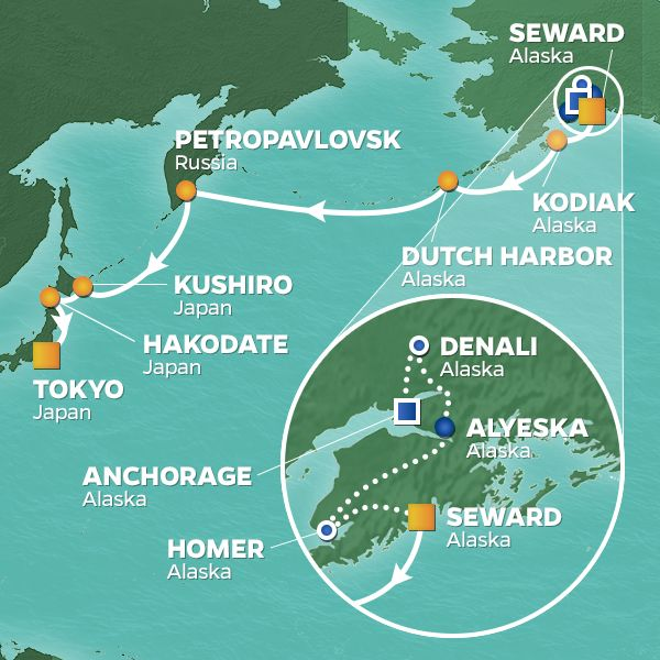 Azamara Cruises | 20-Night Alaska / Japan Land & Sea Package Iinerary Map