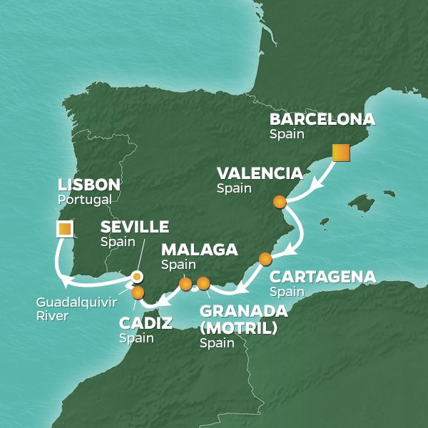 Azamara Cruises | 10-Nights from Barcelona to Lisbon Cruise Iinerary Map