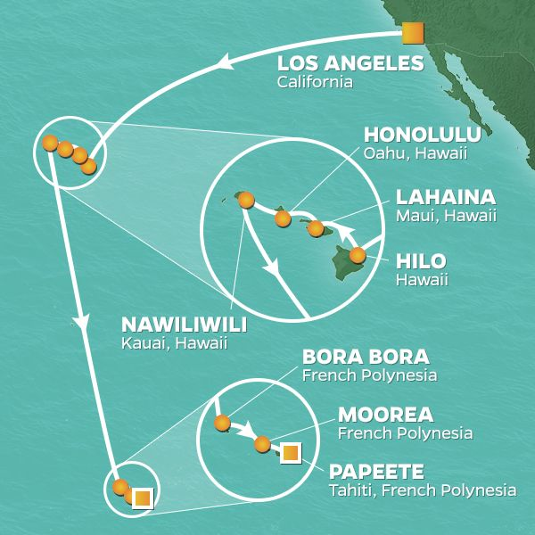 Azamara Cruises | 18-Nights from Los Angeles to Papeete Cruise Iinerary Map