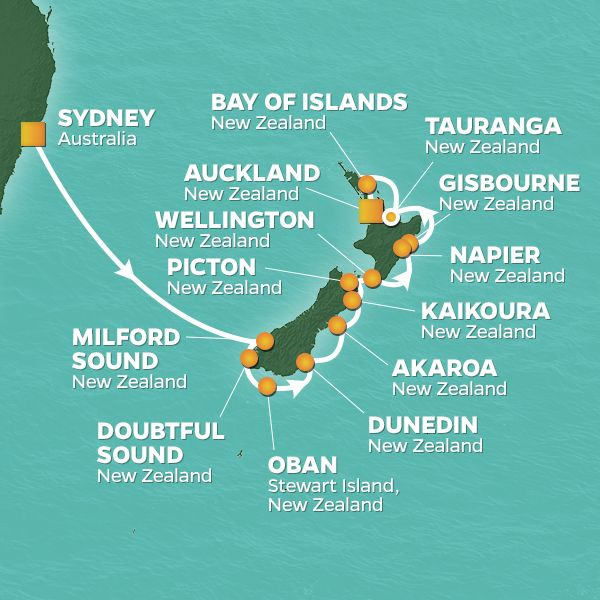 Azamara Cruises | 15-Nights from Sydney to Auckland Cruise Iinerary Map