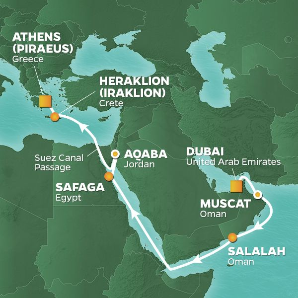 Azamara Cruises | 16-Nights from Dubai to Athens Cruise Iinerary Map