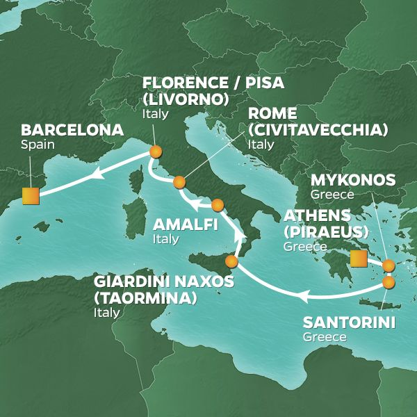 Azamara Cruises | 9-Nights from Athens to Barcelona Cruise Iinerary Map