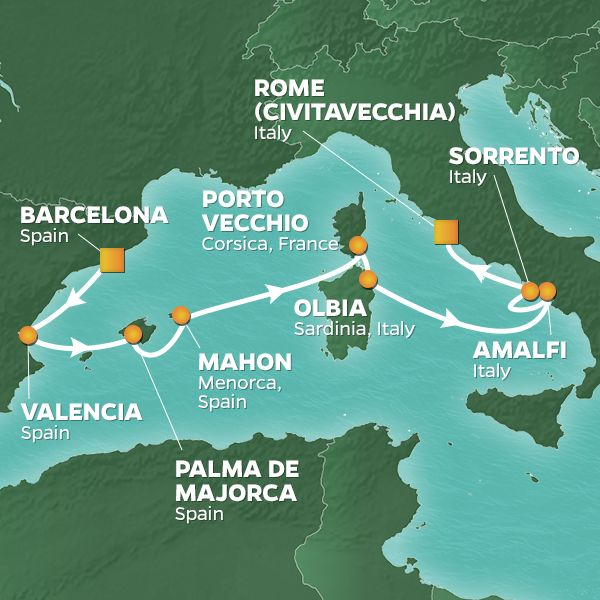 Azamara Cruises | 9-Nights from Barcelona to Rome Cruise Iinerary Map