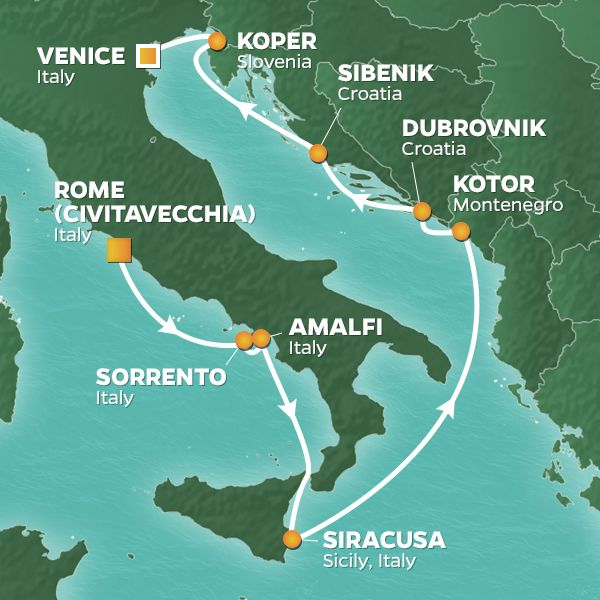 Azamara Cruises | 10-Nights from Rome to Venice Cruise Iinerary Map
