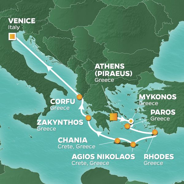 Azamara Cruises | 10-Nights from Athens to Venice Cruise Iinerary Map