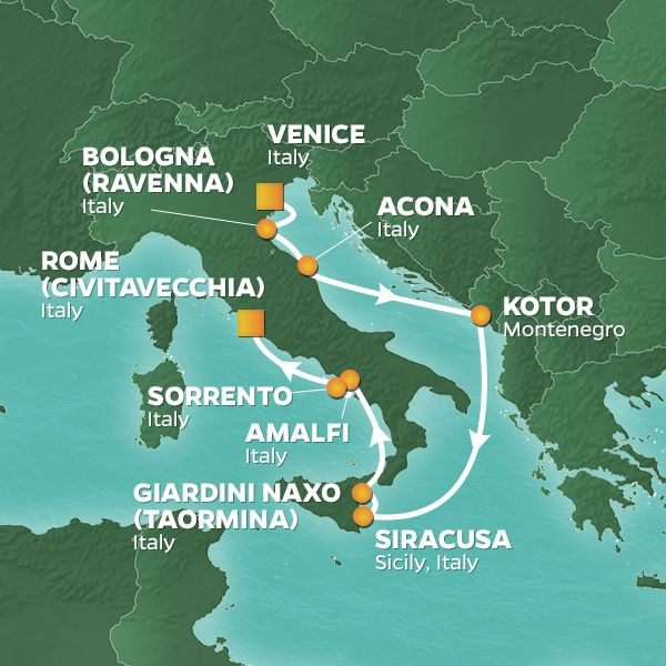 Azamara Cruises | 9-Nights from Venice to Rome Cruise Iinerary Map