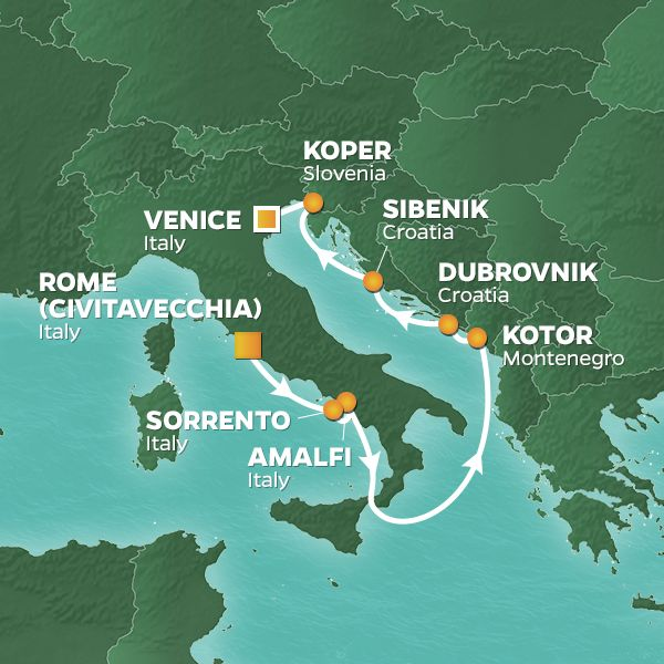 Azamara Cruises | 9-Nights from Rome to Venice Cruise Iinerary Map