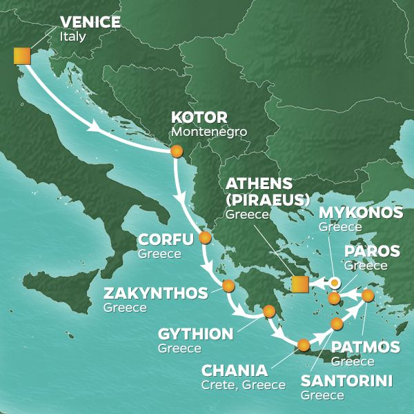 Azamara Cruises | 11-Nights from Venice to Athens Cruise Iinerary Map