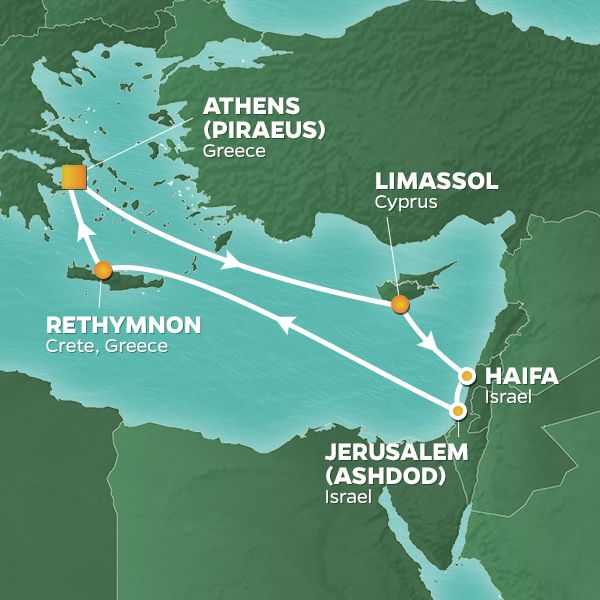 Azamara Cruises | 10-Nights Roundtrip from Athens Cruise Iinerary Map