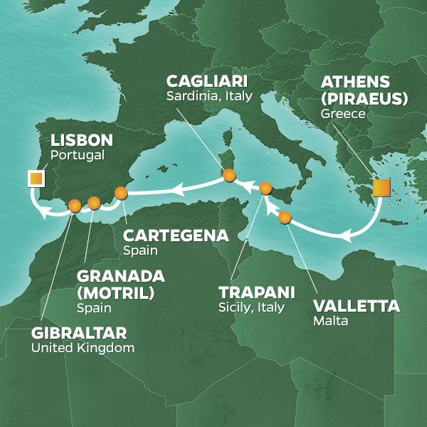 Azamara Cruises | 10-Nights from Athens to Lisbon Cruise Iinerary Map