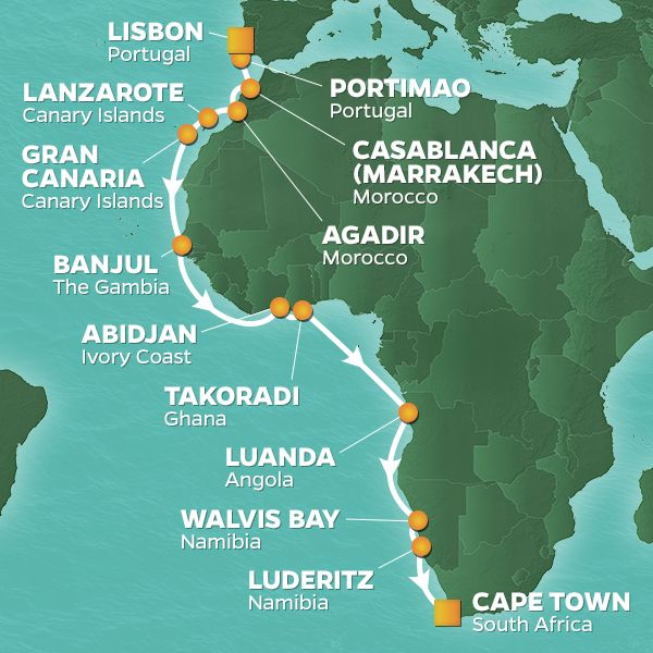 Azamara Cruises | 22-Nights from Lisbon to Cape Town Cruise Iinerary Map