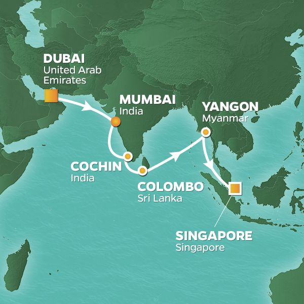 Azamara Cruises | 19-Nights from Dubai to Singapore Cruise Iinerary Map
