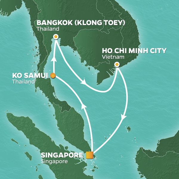 Azamara Cruises | 10-Nights Roundtrip from Singapore Cruise Iinerary Map