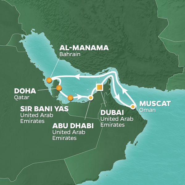 Azamara Cruises | 11-Nights Roundtrip from Dubai Cruise Iinerary Map