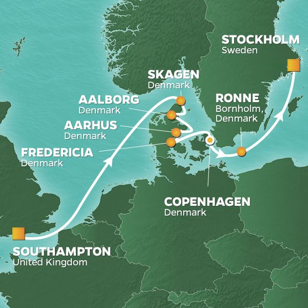 Azamara Cruises | 10-Nights from Southampton to Stockholm Cruise Iinerary Map
