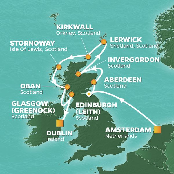 Azamara Cruises | 11-Nights from Amsterdam to Dublin Cruise Iinerary Map