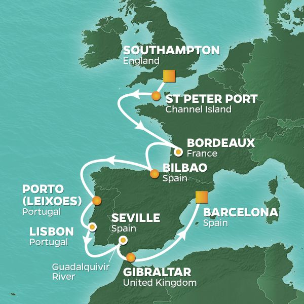 Azamara Cruises | 15-Nights from Southampton to Barcelona Cruise Iinerary Map