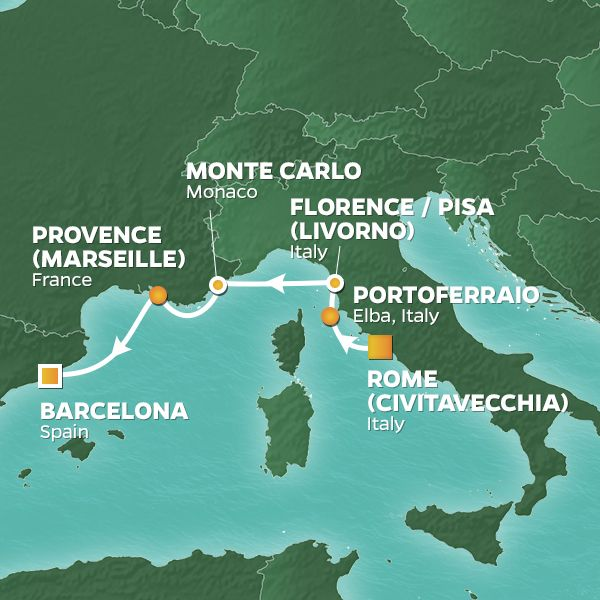 Azamara Cruises | 8-Nights from Rome to Barcelona Cruise Iinerary Map