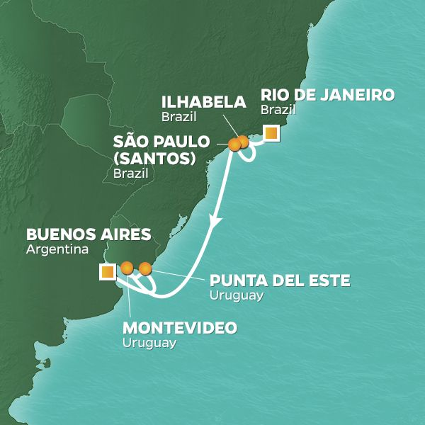 Azamara Cruises | 9-Nights from Rio de Janeiro to Buenos Aires Cruise Iinerary Map