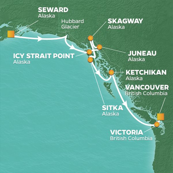 Azamara Cruises | 10-Nights from Seward to Vancouver Cruise Iinerary Map