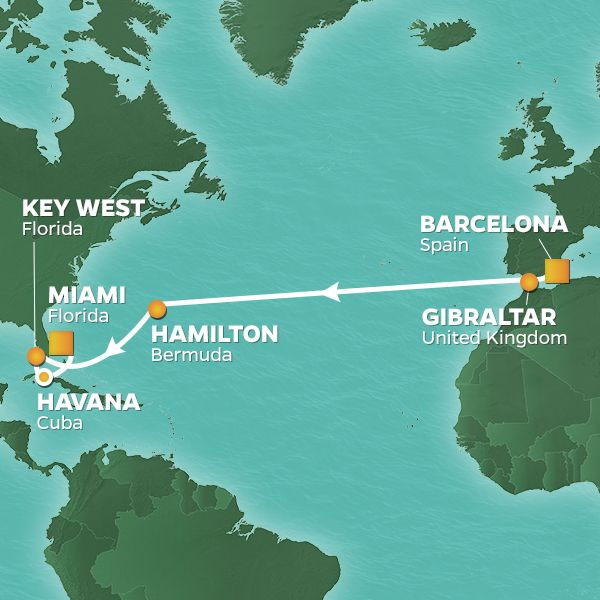 Azamara Cruises | 16-Nights from Barcelona to Miami Cruise Iinerary Map