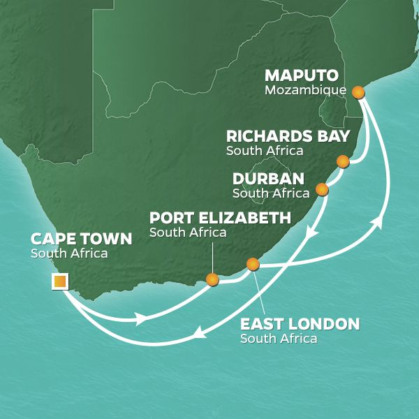 Azamara Cruises | 12-Nights Roundtrip from Cape Town Cruise Iinerary Map