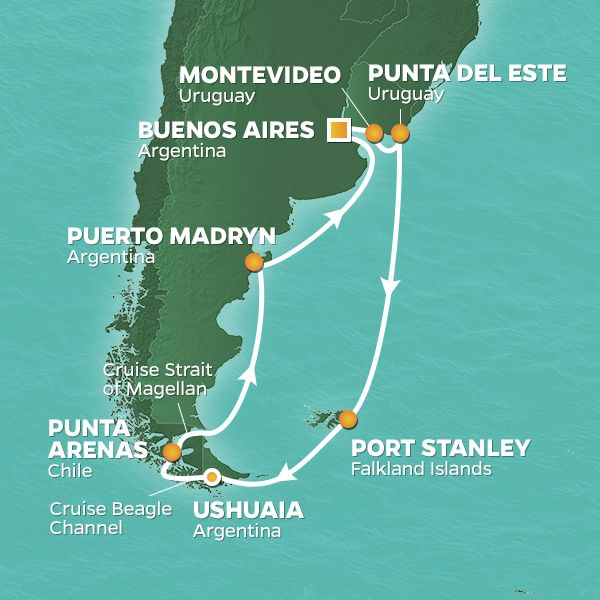 Azamara Cruises | 16-Nights Roundtrip from Buenos Aires Cruise Iinerary Map