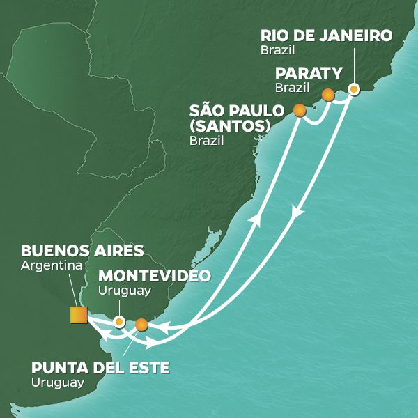 Azamara Cruises | 13-Nights Roundtrip from Buenos Aires Cruise Iinerary Map