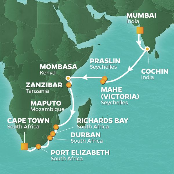 Azamara Cruises | 29-Night South Africa Safari Land & Sea Package Iinerary Map