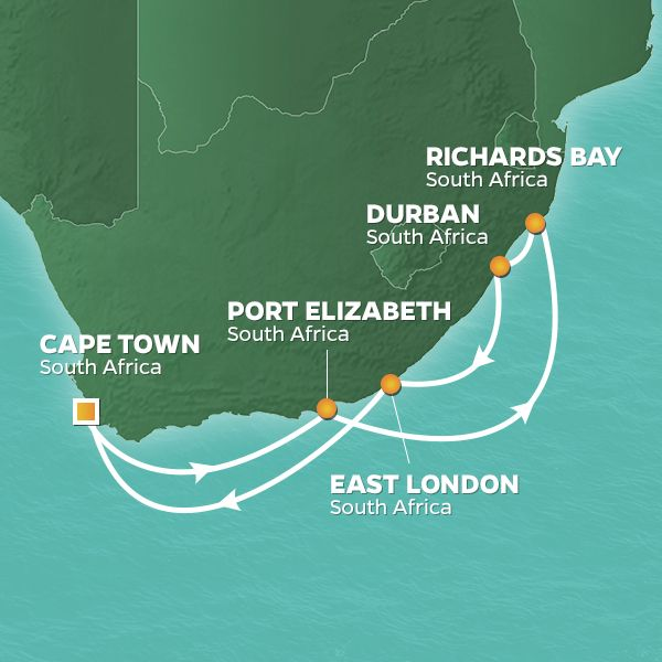 Azamara Cruises | 15-Night South Africa Safari Land & Sea Package Iinerary Map