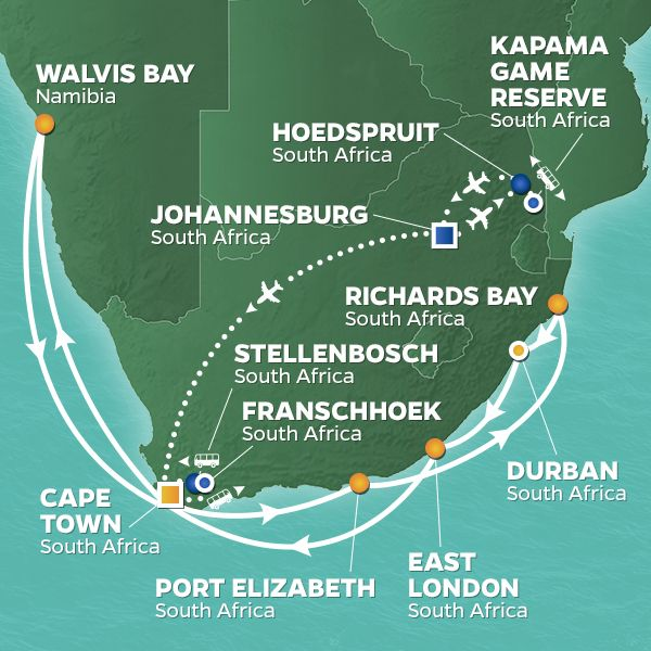 Azamara Cruises | 20-Night South Africa Holiday Safari Land & Sea Package Iinerary Map